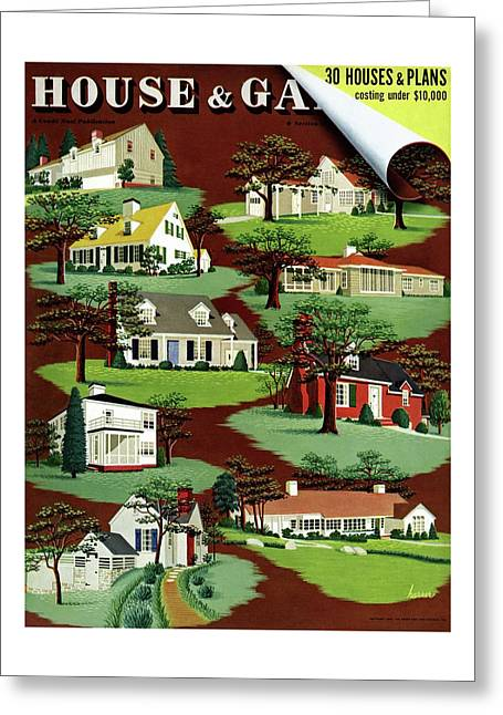 House & Garden Cover Illustration Of 9 Houses Greeting Card