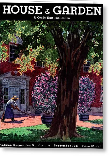 House & Garden Cover Illustration Of A Gardener Greeting Card