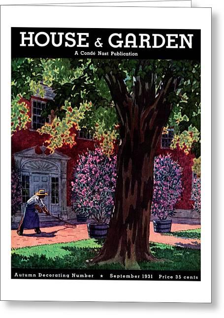 House & Garden Cover Illustration Of A Gardener Greeting Card