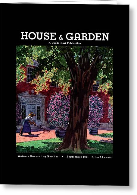 House & Garden Cover Illustration Of A Gardener Greeting Card by Pierre Brissaud