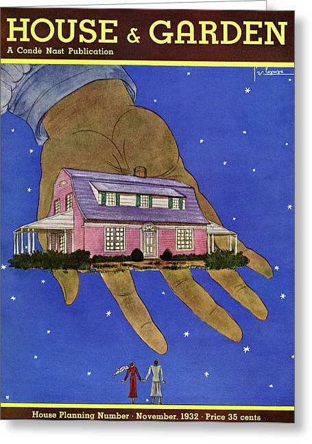 House & Garden Cover Illustration Of A Giant Hand Greeting Card