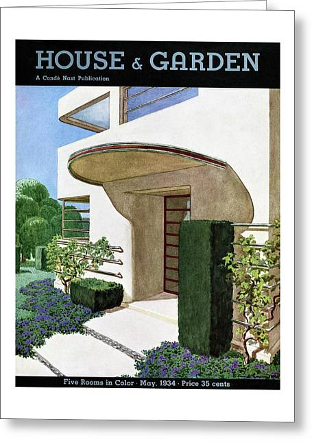 House & Garden Cover Illustration Of A Modern Greeting Card