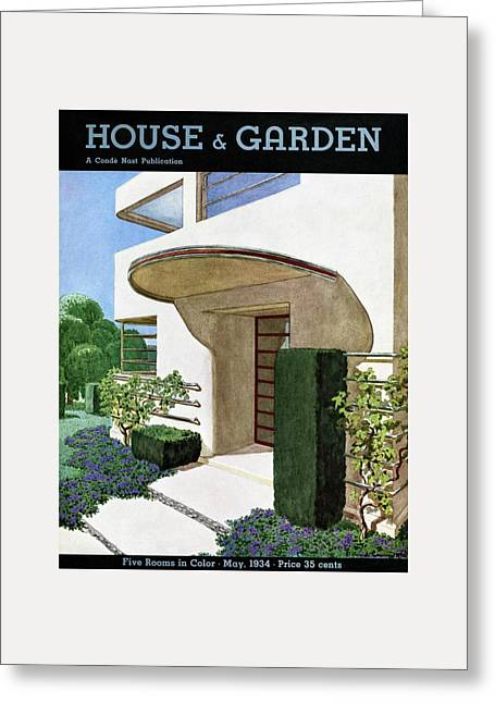 House & Garden Cover Illustration Of A Modern Greeting Card by Pierre Brissaud