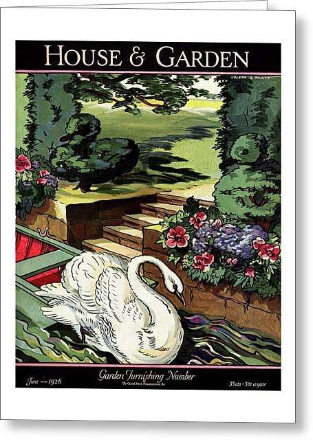House & Garden Cover Illustration Of A Swan Greeting Card