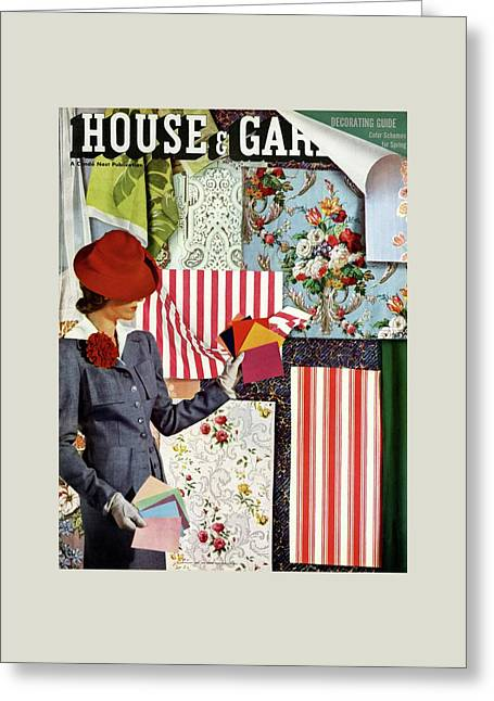 House & Garden Cover Illustration Of A Woman Greeting Card by Joseph B. Platt