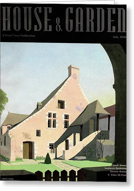 House & Garden Cover Illustration Of An Historic Greeting Card