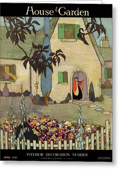 House & Garden Cover Illustration Of An Greeting Card by Porter Woodruff