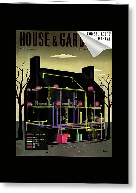 House And Garden Cover Illustration Of The Internal Greeting Card by Victor Bobritsky