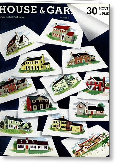 House & Garden Cover Illustration Of Various Homes Greeting Card