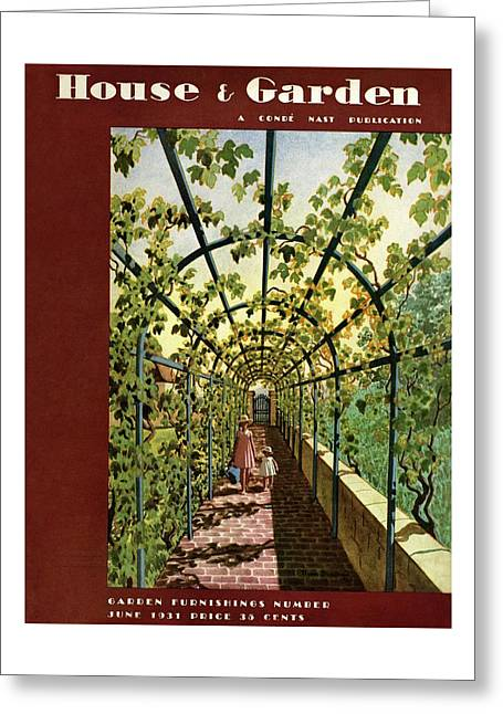 House & Garden Cover Illustration Of Young Girls Greeting Card