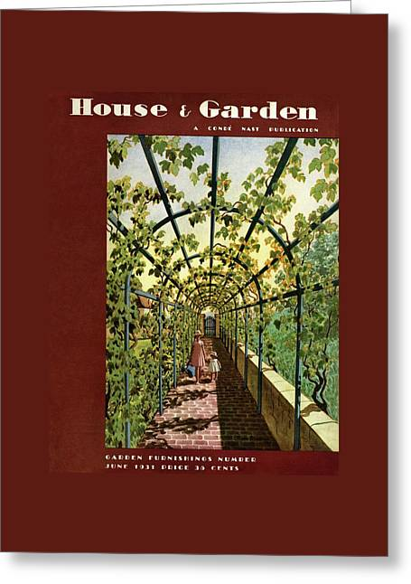 House & Garden Cover Illustration Of Young Girls Greeting Card by Pierre Brissaud