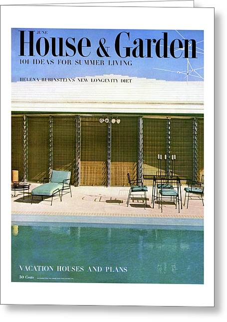 House & Garden Cover Of A Swimming Pool At Miami Greeting Card
