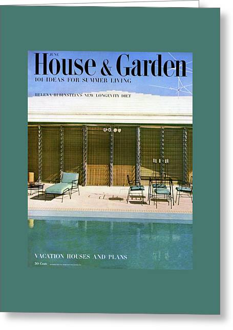 House & Garden Cover Of A Swimming Pool At Miami Greeting Card by Rudi Rada
