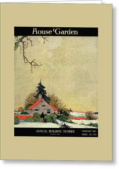 House And Garden Annual Building Number Cover Greeting Card by Charles Livingston Bull