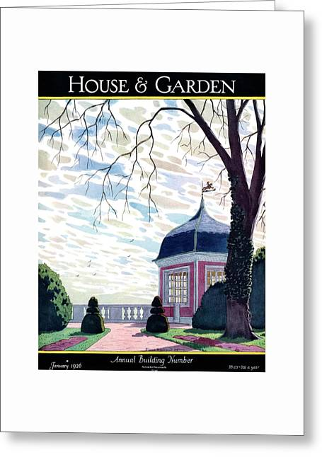 House And Garden Annual Building Number Cover Greeting Card by Pierre Brissaud