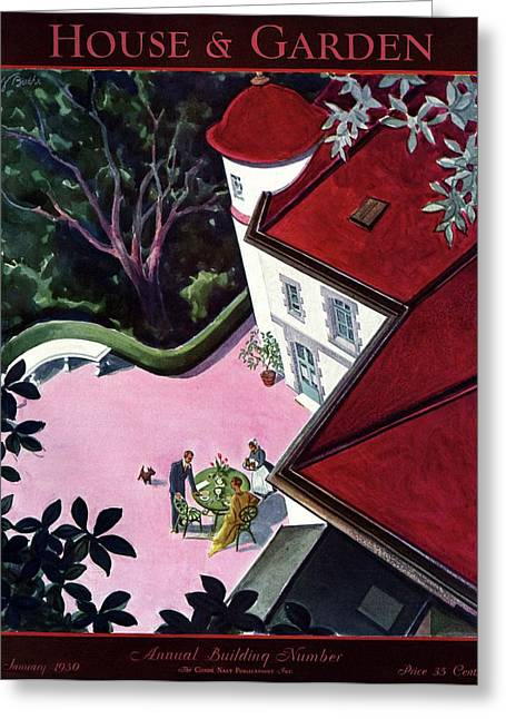 House And Garden Annual Building Number Cover Greeting Card by Walter Buehr