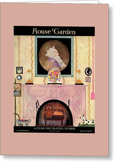 House And Garden Autumn Decorating Number Cover Greeting Card by Helen Dryden