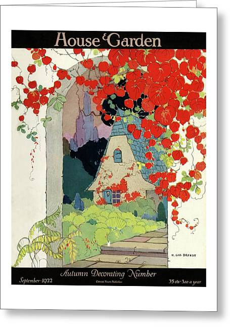 House And Garden Autumn Decorating Number Greeting Card