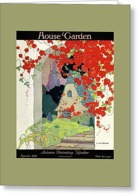 House And Garden Autumn Decorating Number Greeting Card by H. George Brandt