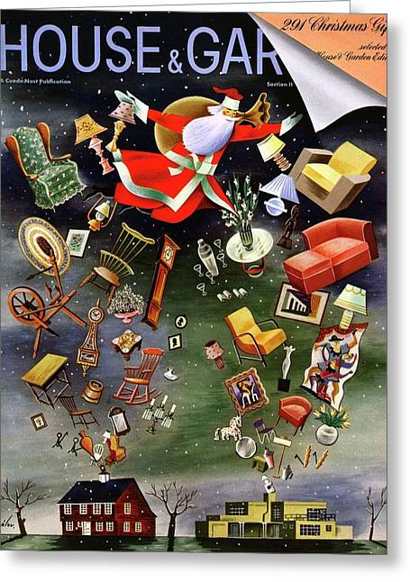 House And Garden Christmas Gifts Cover Greeting Card by Constantin Alajalov