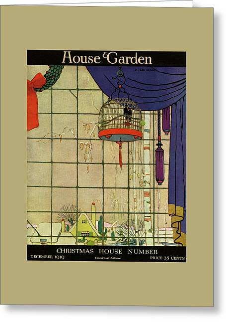 House And Garden Christmas House Number Cover Greeting Card by H. George Brandt