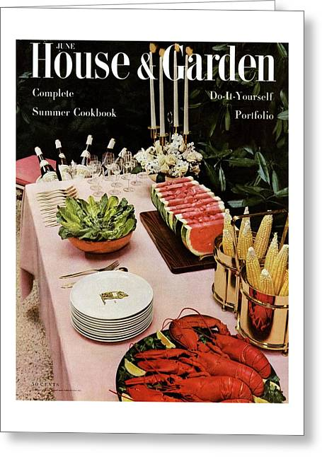House And Garden Cover Featuring A Buffet Table Greeting Card