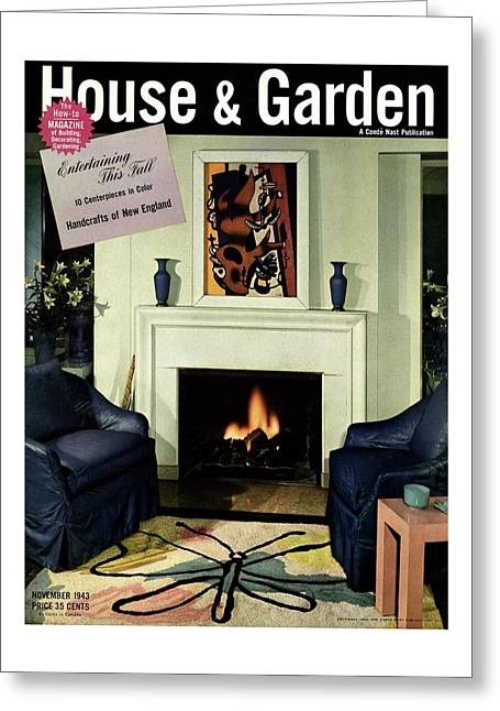 House And Garden Cover Featuring A Living Room Greeting Card
