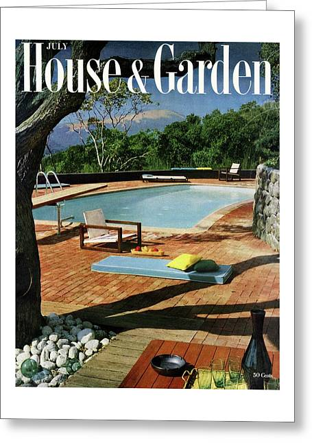 House And Garden Cover Featuring A Terrace Greeting Card