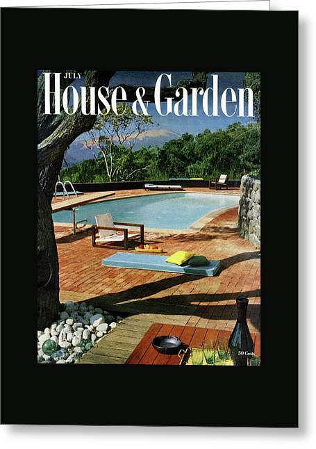 House And Garden Cover Featuring A Terrace Greeting Card by Georges Braun