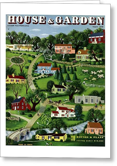 House And Garden Cover Featuring An Illustration Greeting Card