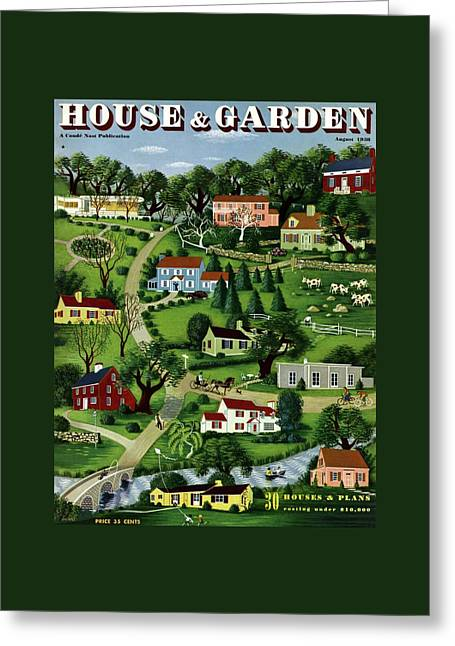 House And Garden Cover Featuring An Illustration Greeting Card by Victor Bobritsky