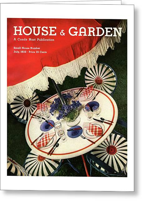 House And Garden Cover Featuring An Outdoor Table Greeting Card