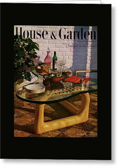 House And Garden Cover Featuring Brunch Greeting Card by John Rawlings