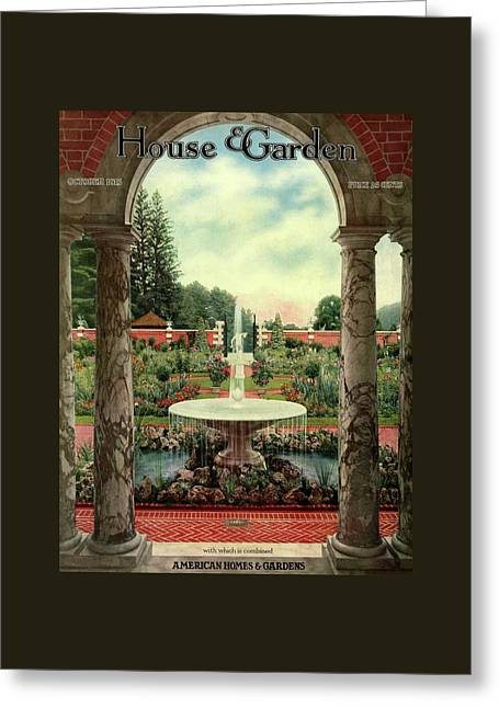 House And Garden Cover Greeting Card by Herbert Angell