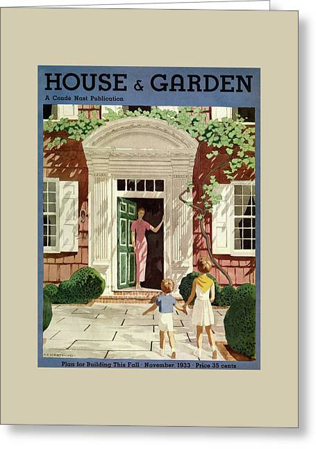 House And Garden Cover Greeting Card by Pierre Brissaud
