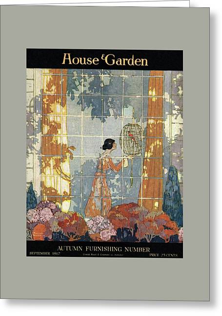 House And Garden Cover Greeting Card by Porter Woodruff