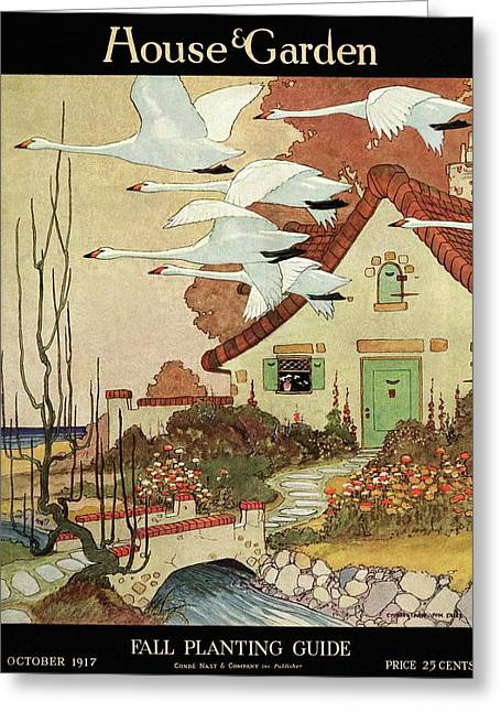 House And Garden Fall Planting Guide Greeting Card by Charles Livingston Bull
