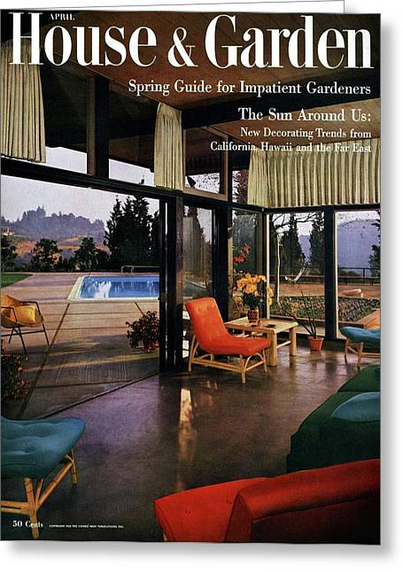 House And Garden Featuring A Living Room Greeting Card by Julius Shulman