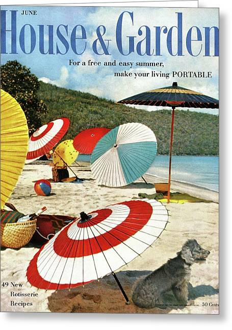 House And Garden Featuring Umbrellas On A Beach Greeting Card by Otto Maya & Jess Brown