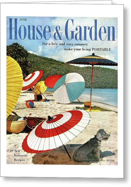 House And Garden Featuring Umbrellas On A Beach Greeting Card
