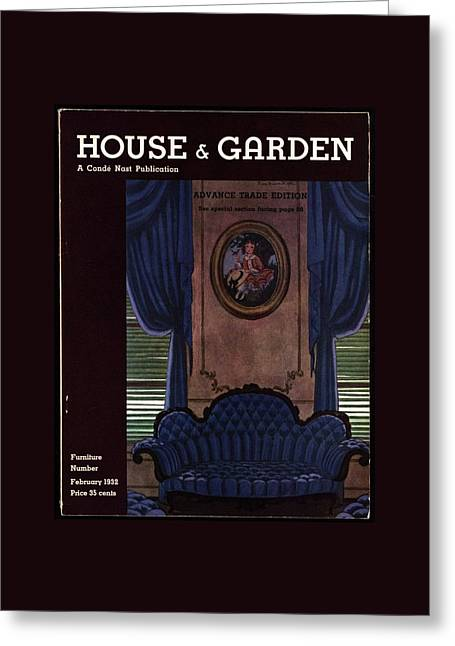 House And Garden Furniture Number Greeting Card by Pierre Brissaud