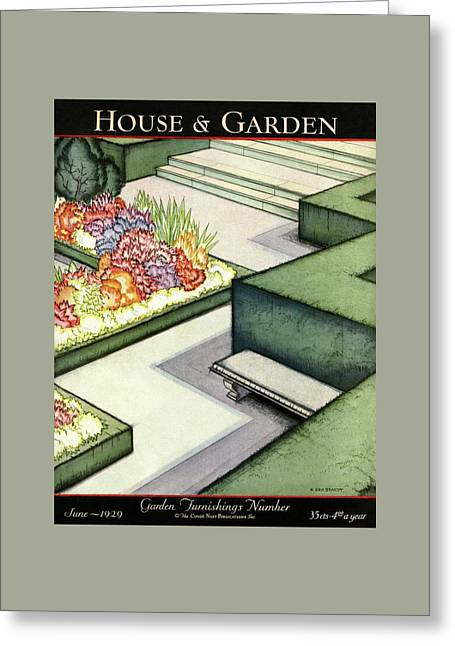 House And Garden Garden Furnishings Number Cover Greeting Card by H. George Brandt