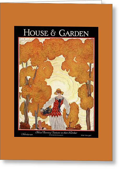 House And Garden House Planning Number Cover Greeting Card by Georges Lepape