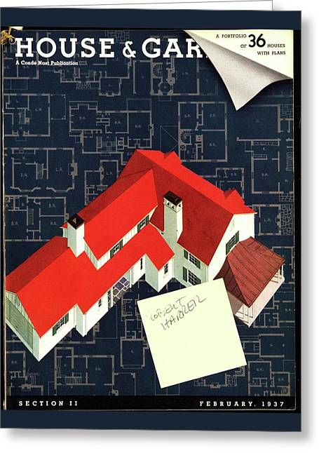 House And Garden Houses With Plans Cover Greeting Card by Robert Harrer
