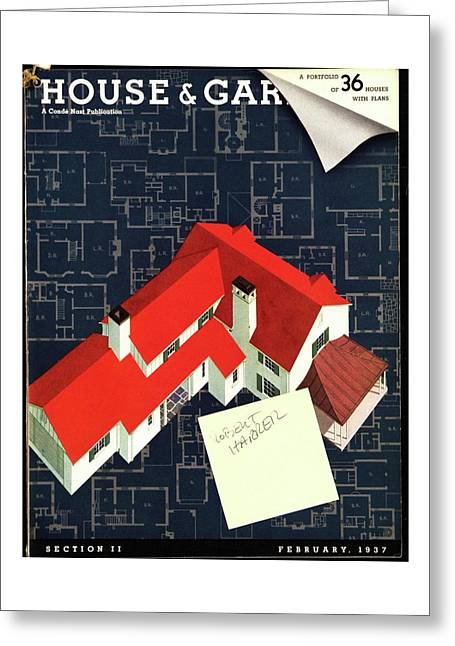House And Garden Houses With Plans Cover Greeting Card