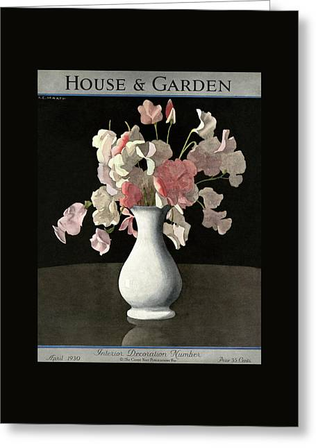 House And Garden Interior Decoration Number Greeting Card by Andre E.  Marty