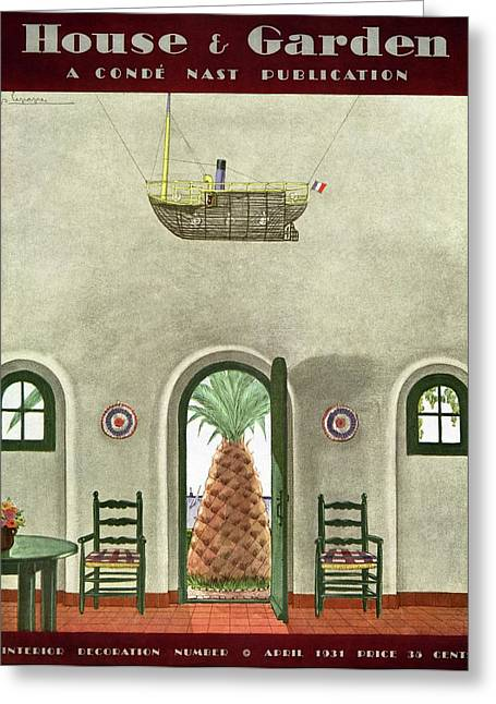 House And Garden Interior Decoration Number Cover Greeting Card by Georges Lepape