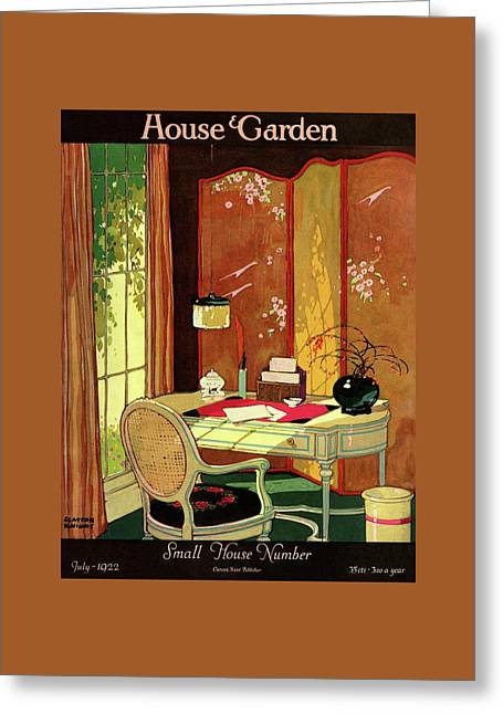 House And Garden Small House Number Greeting Card by Clayton Knight
