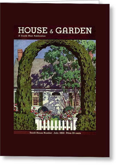 House And Garden Small House Number Greeting Card by Pierre Brissaud