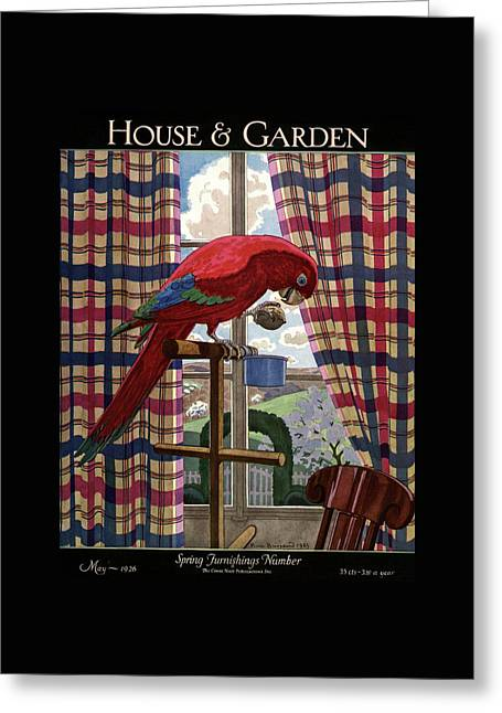 House And Garden Spring Furnishing Number Cover Greeting Card by Pierre Brissaud